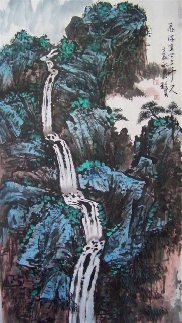 mountain and water chinese painting art work on rice paper