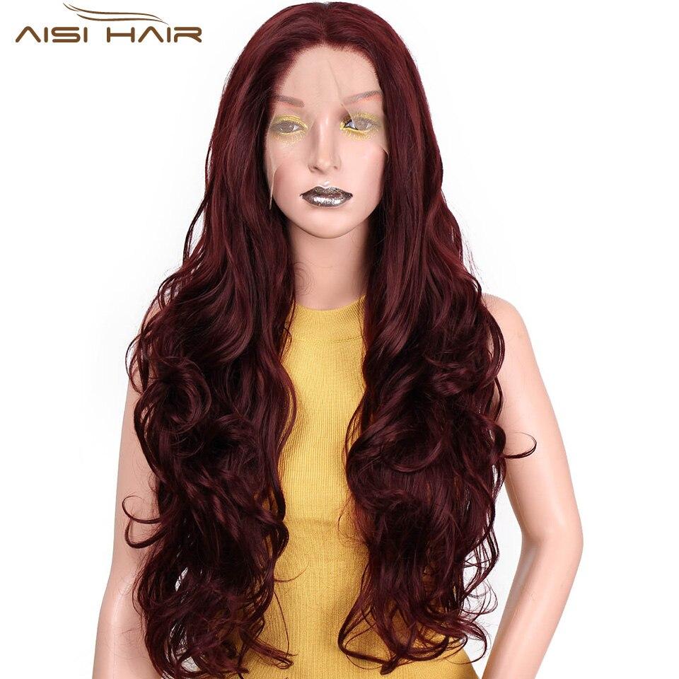 I é uma peruca Longa Ondulado Peruca Sintética Frente Lace Wigs 26 polegada Vermelho pode ser Onda Cosplay Cabelo Calor fibra resistente para as mulheres