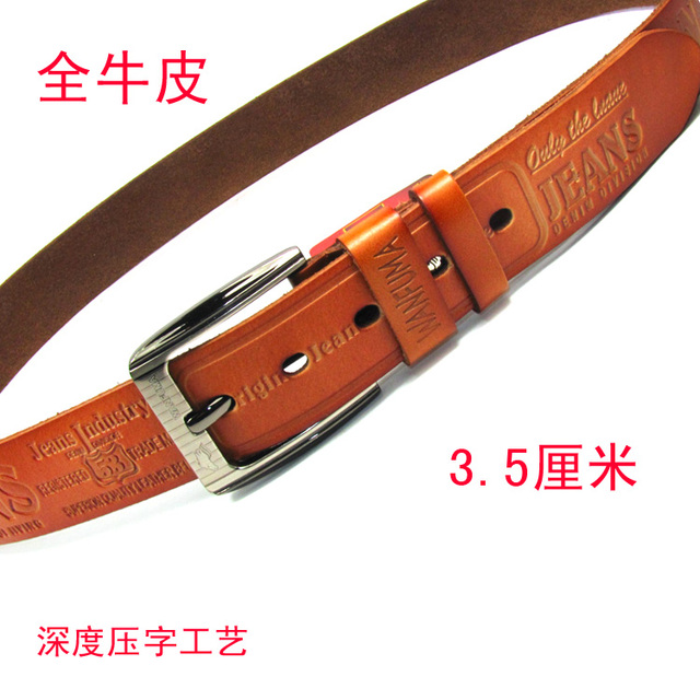 New year gift Genuine leather belt general embossing word