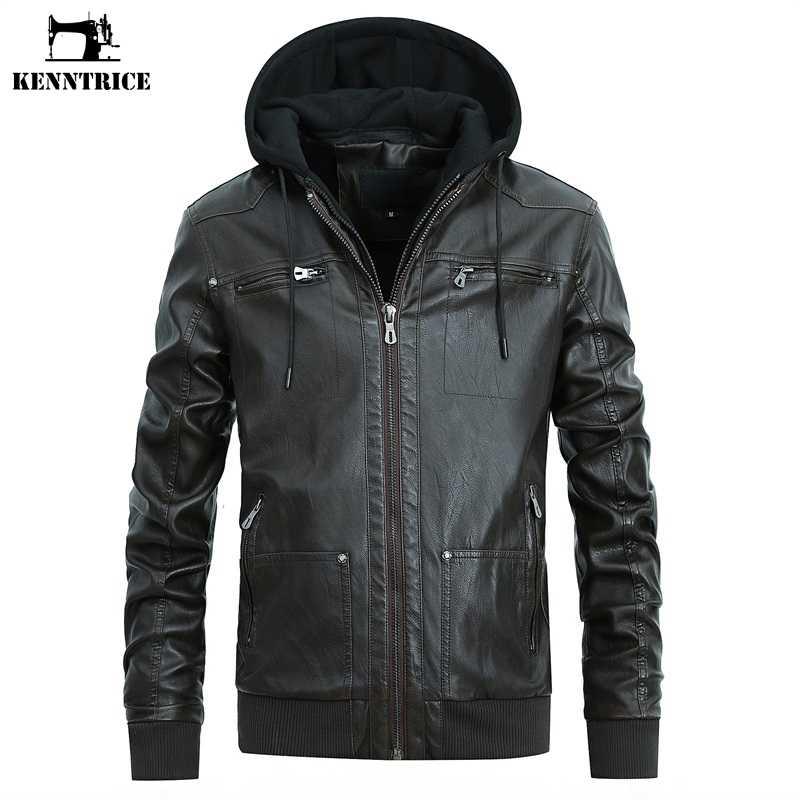 fe1631b328e KENNTRICE Leather Hooded Jacket Men Motorcycle Jacket Detachable Hood  Zipper Coat PU Faux Leather Jacket Men
