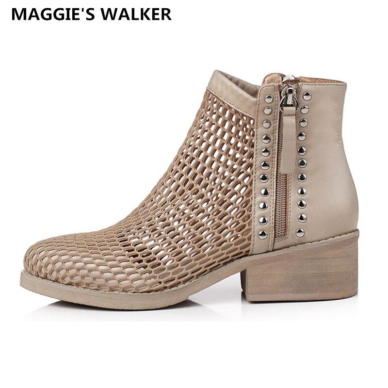 punta ~ Tamaño Cremallera 42 Otoño Más Cuero Zapatos Auténtico Walker Verano Moda Mujeres Botas Maggie's Casual Estrecha 35 qvZawUCw