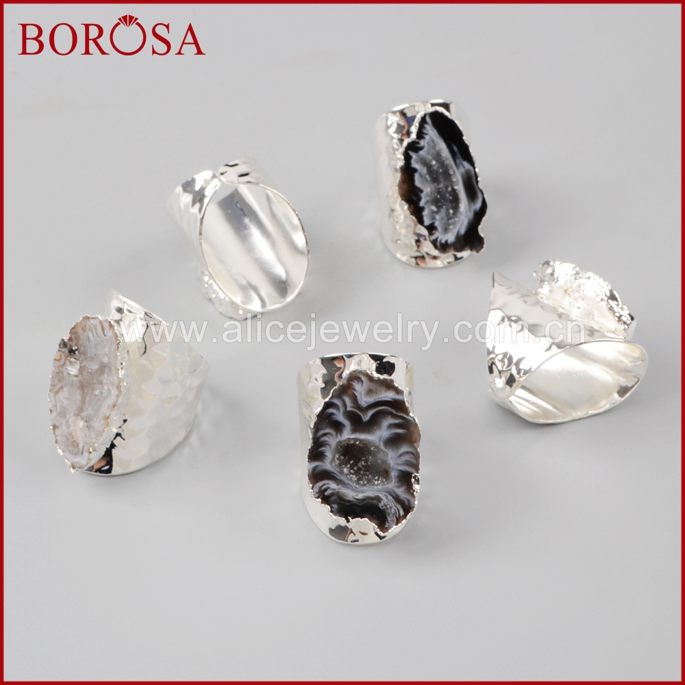 Image 4 - BOROSA Elegant Druzy Silver Color Freeform Natural Crystal Druzy  Open Band Rings, Fashion Natural Gems Women Party Rings S1388band  ringfashion ringsring fashion