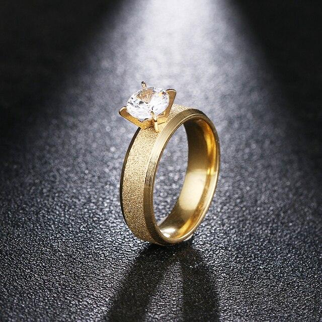 DOTIFI 316L נירוסטה טבעות לנשים קלאסי פשוט מט אירוסין חתונה טבעת תכשיטים