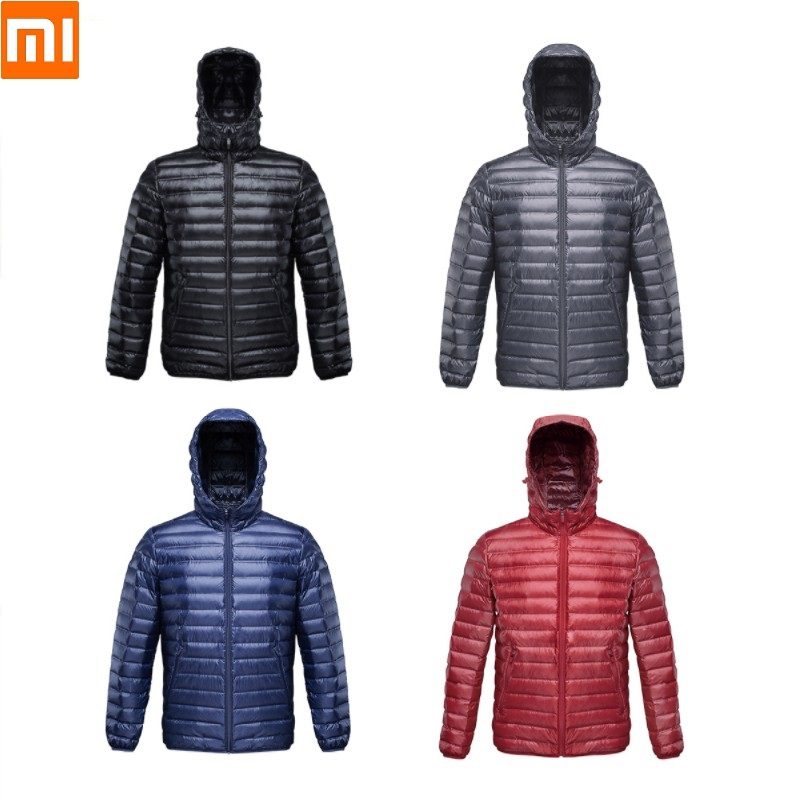 Xiaomi 90 FUN Men Autumn Winter Thin and light Seamless one weave Goose down Down jacket male Keep warm Windproof waterproof