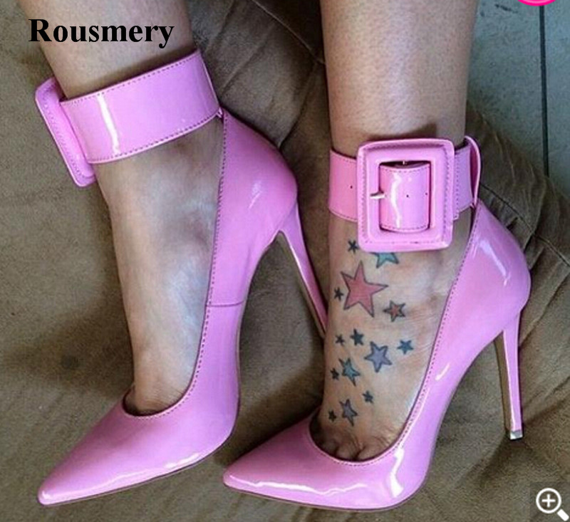 Ladies Charming Pink Patent Leather Pointed Toe Ankle Wrap Pumps Buckle Design Classical Style High Heels Formal Dress Shoes women new fashion pointed toe black leather ankle wrap pumps tassels design buckle super high heels formal dress shoes