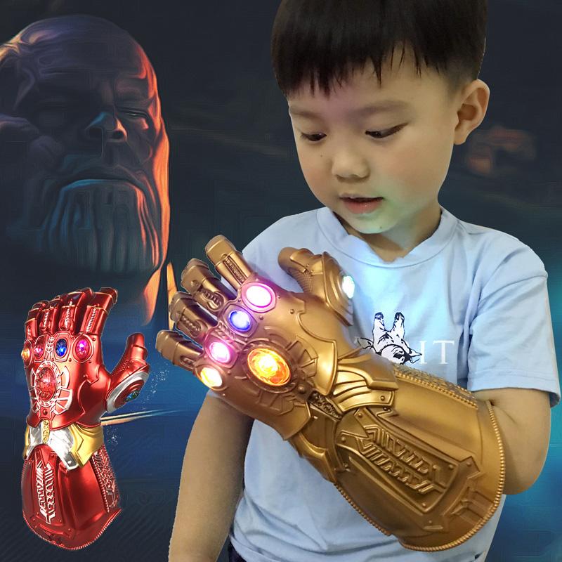 1 Pcs PVC Glow Glove Avengers 4 Endgame Thanos Infinity Gloves Kids Toys Christmas Halloween Cosplay Props LED Party Supplies