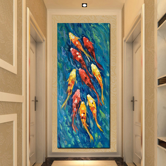 Print chinese abstract nine koi fish lotus oil painting on for Koi fish wall decor