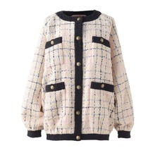 New arrival 2019 spring women's plaid tweed coat Fashion sweet loose jackets A08