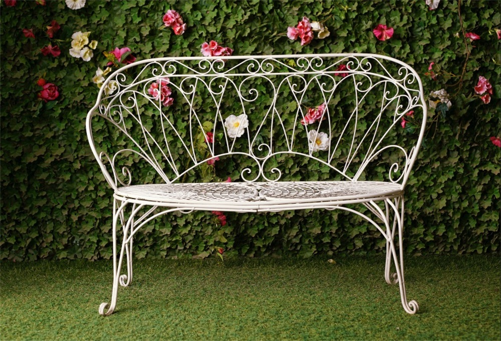 Laeacco Grassland Flowers Wall Bench Wedding Photography Backgrounds Customized Photographic Backdrops For Photo Studio