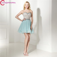 Sky Blue Sequins Đính Cườm Ngắn Prom Dresses Đảng Voan Mini Cocktail Dresses Cô Gái Homecoming Dresses