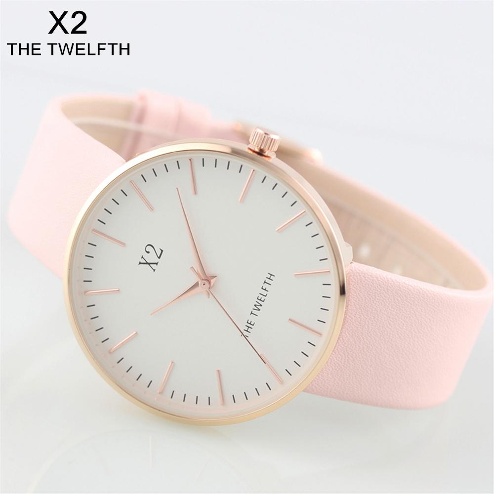 Prix pour Mode horloge femelle nouvelle marque X2 LE DOUZIÈME cloche Femmes en cuir montre à quartz montre femme marque de luxe zegarek damski