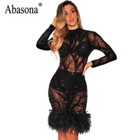 Abasona Feather Embellished Sequins Dress Women Evening Party Dresses Hollow Out Long Sleeve Black Bodycon Mesh
