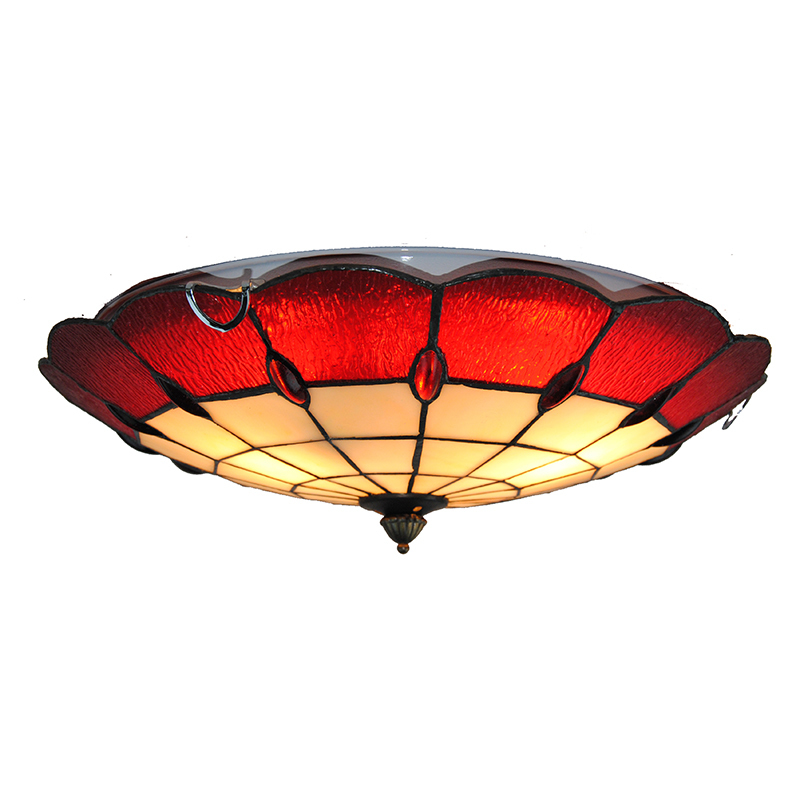 """16"""" Classic Vintage Red White Stained Glass Ceiling Lamp"""