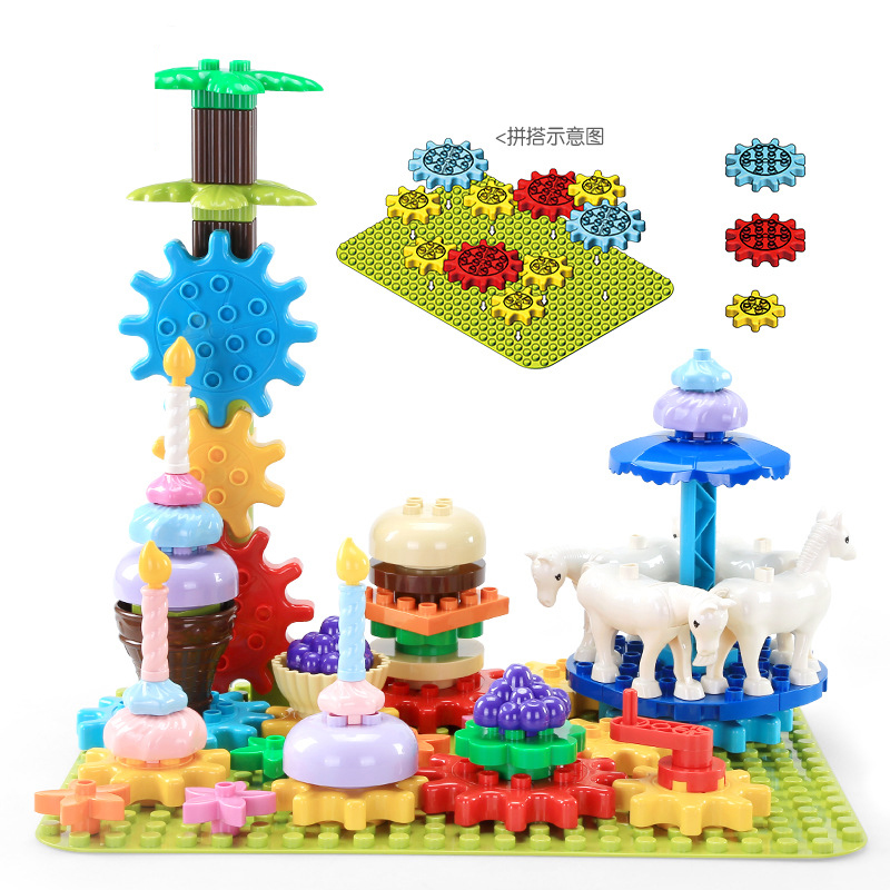 69PCS Big Size Rotary Gear Animal Playground Set Building Block Assembly Compatible Duplos Educational toy for