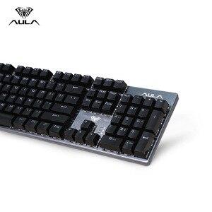 Image 3 - AULA F2068 104 Toetsen Macro Backlit Mechanische Toetsenbord Computer Gamer LED Backlight Gaming Toetsenborden Russische Sticker Blauwe Schakelaar