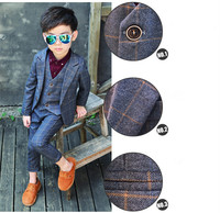 Boys Formal Suits For Weddings England Style Man Child Blue Party Tuxedos Boys Formal Suits Blazer+Pants+Vest 2 8Y