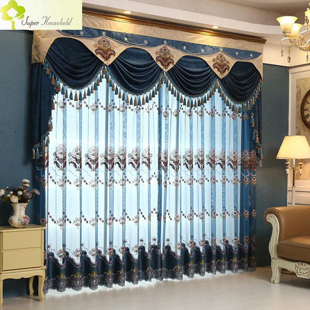 1 PC Luxury European Tulle Curtains For Living Room Thin Bedroom Dinning Sheer
