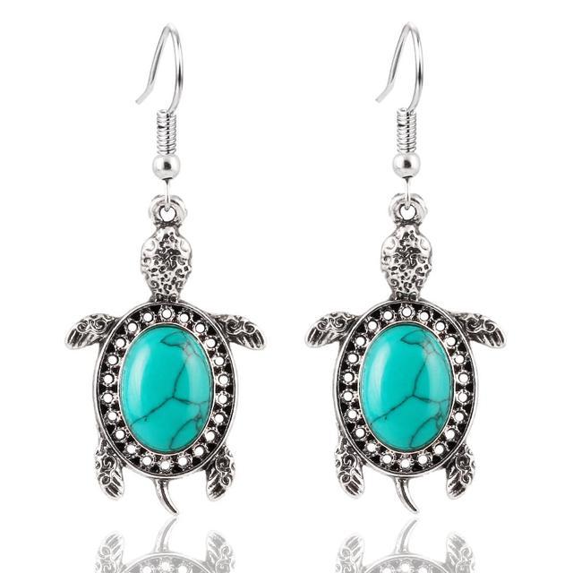 17KM Vintage Tone Animal Tortoise Jewelry Sets Blue Stone Earrings Necklace Bracelet Women Little Turtle Accessories