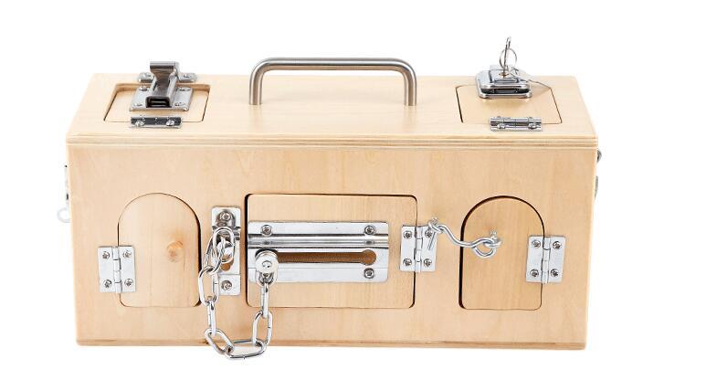 Montessori matériaux serrure en bois et boîte de déverrouillage aides pédagogiques enfants apprentissage jouet éducatif dollmai1605