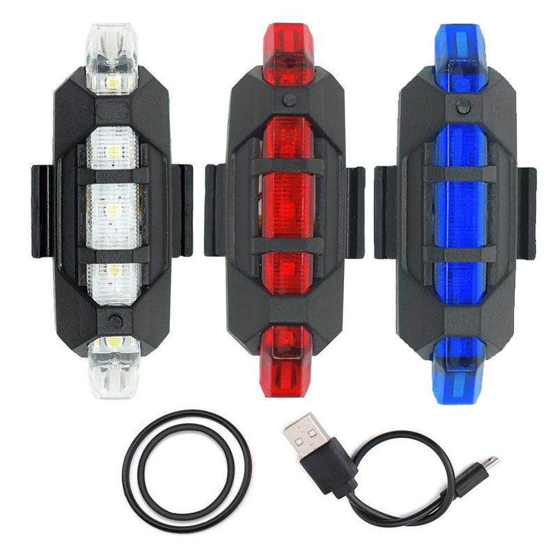 WasaFire Hot New Mini BicycleTail Light USB Rechargeable 5 LED Rear Light Safety Warning Light Cycling Bike Lamp Luces Bicicleta