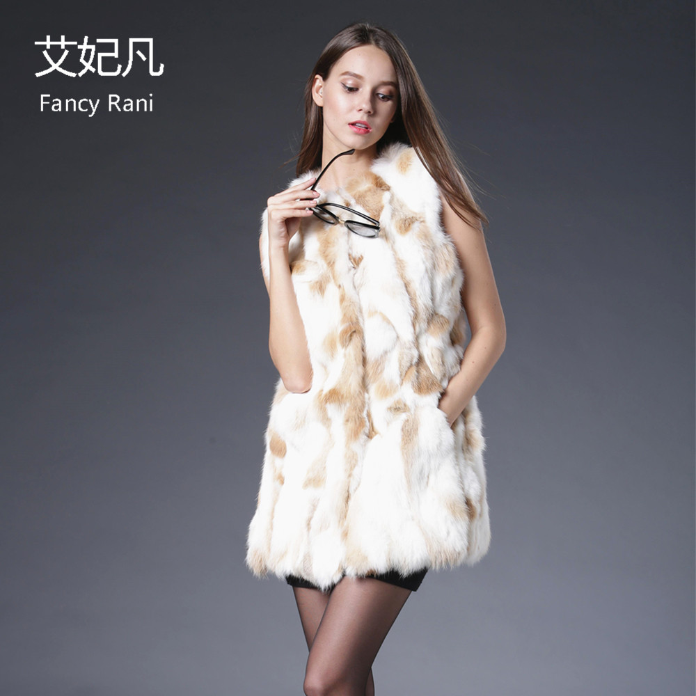 Naturel 2018 Nouvelle Veste Long Manteaux Réel Lapin Outwear De Hiver Femmes Femelle Manteau Véritable Gilet Fourrure Color Picture Rw8BPqX