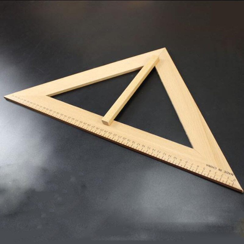 2Pcs Large Hand Held Right Angle Triangle Ruler Teaching Solid Wood Original Wooden Ruler Drawing Teacher Lecture Supplies