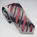 Lazos de YIBEI Coachella hombres Bordeado Gris Con Coral Negro White Stripes Corbata Lazos de moda para hombre camisas de vestir de Boda 8.5 CM