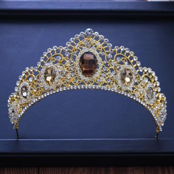 Nuevas diademas de cristal de Reina, Tiara de novia, corona de pedrería con cuentas para concurso, coronas de quinceañera, accesorios para el cabello de boda, diademas