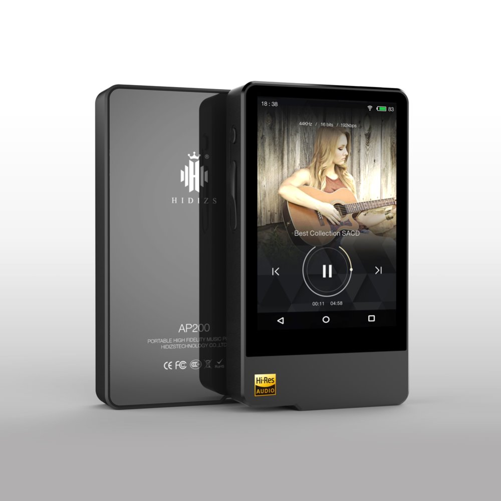 Écouteur libre + Hidizs AP200 Android Bluetooth HiFi Lecteur de Musique 32G/64G (construire-dans la mémoire) 3.5 IPS DoubleES9118C DAC DSD PCM FLAC