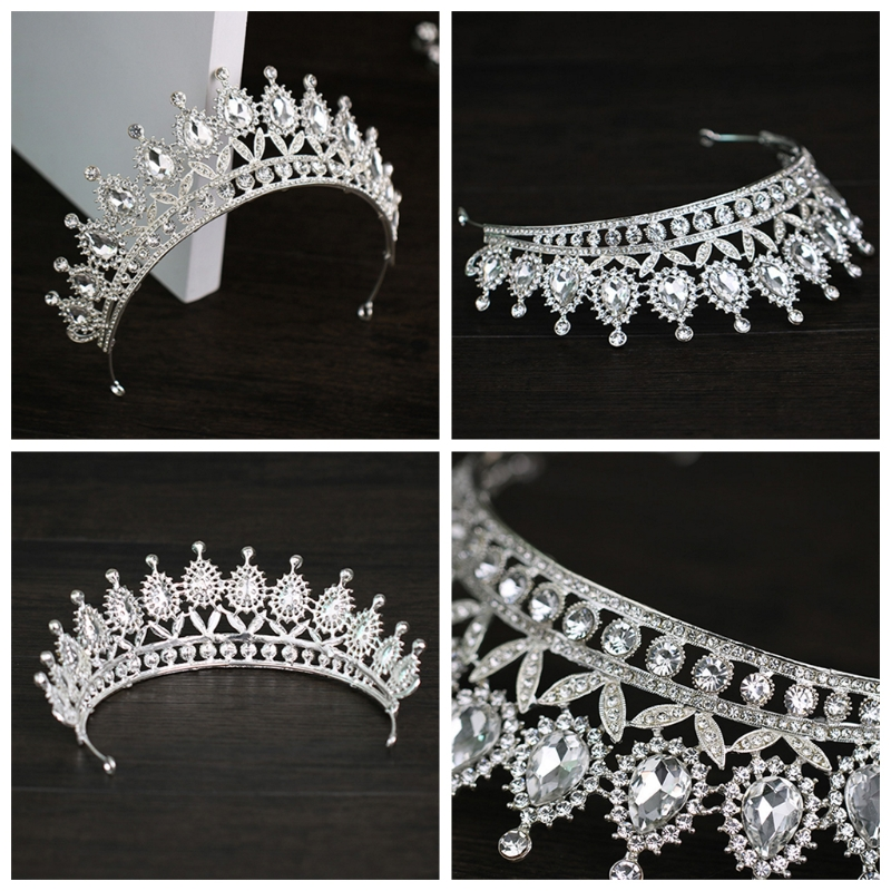 Rhinestone <font><b>Crown</b></font> Bride Wedding Tiara <font><b>Princess</b></font> Jewelry Women Luxury Queen Decor image