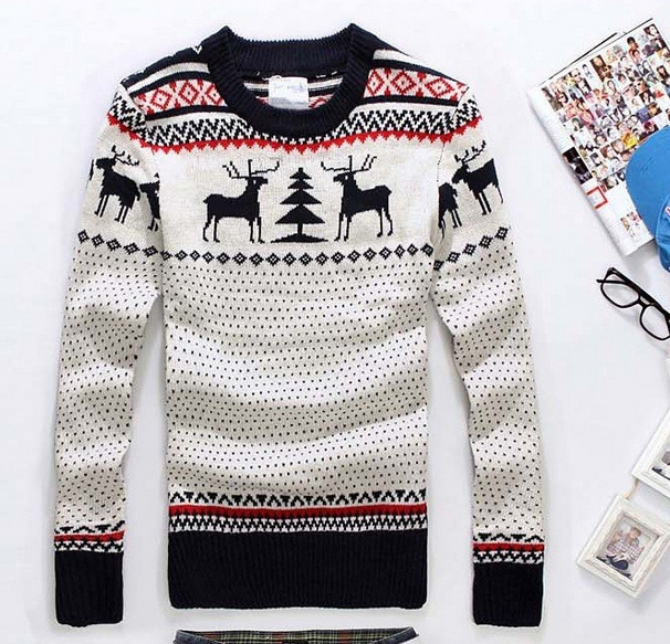 2016 New Arrival Sweaters Stylish Deer Animal Print Knitted Long Sleeve Sweater Men Sweater Male Sweaters Pullover