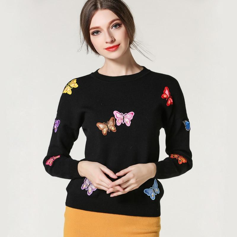 Europa y los Estados Unidos de viento mariposa bordada suéter suéter flojo de la