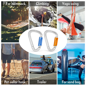 Image 5 - 25KN Twist Locking Gate Carabiner Certified Auto Lock Carabiner Outdoor D ring Buckle Climbing Rappelling Canyoning Hammock Clip