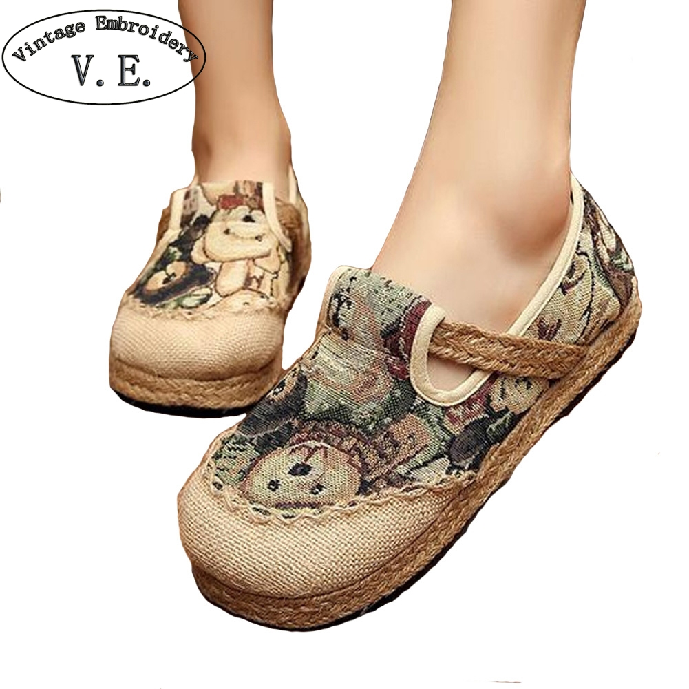Vintage Summer Flat Shoes Woman Comortable Casual Slip-on Cotton Linen Flats Breathable Outdoor Women Shoes vintage women flats summer new soft canvas embroidery shoes casual slip on bow dance flat sandals for woman zapatos mujer