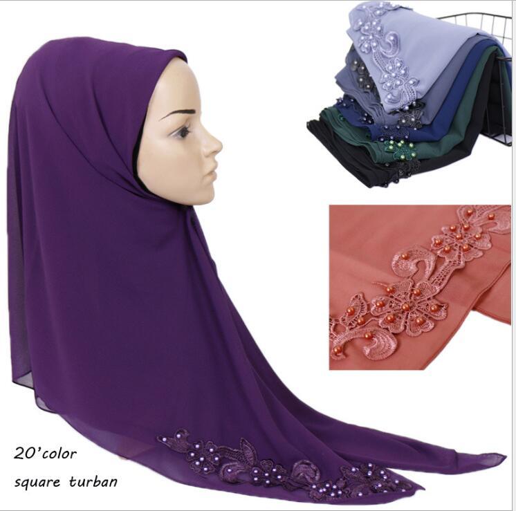 Fashion Malaysia Chiffon Square Scarf Solid Muslim Hijab Exquisite Appliques Square Head Scarf Femme Musulman Turban 115x115cm