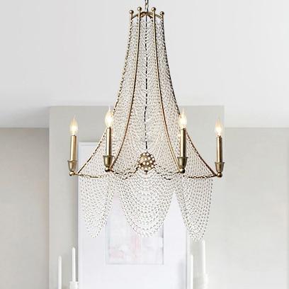 Candelabro de cristal, candelabro de cristal de acabado antiguo americano, lámpara de iluminación nórdica para el hogar D79cm H96cm AC90V-260V