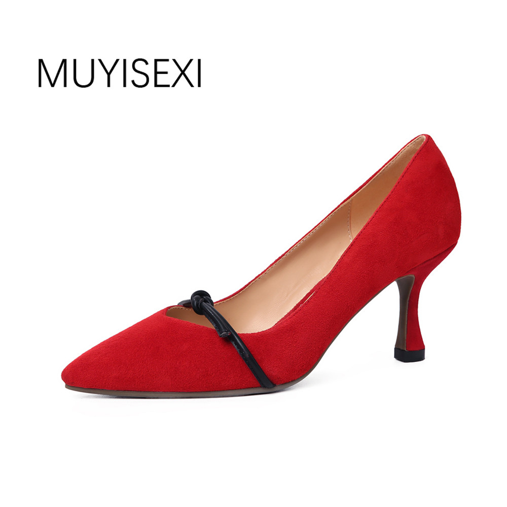 High heels shoes woman genuine suede leather women pumps 5cm kitten heel pointed toe Bow spring red black beige MT07 MUYISEXI