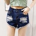 Plus tamaño de los pantalones vaqueros cortos mujeres de verano estilo 2016 bermuda feminina mini sexy agujero de cintura alta pantalones cortos de mezclilla femenina pantalones anchos de la pierna A0277