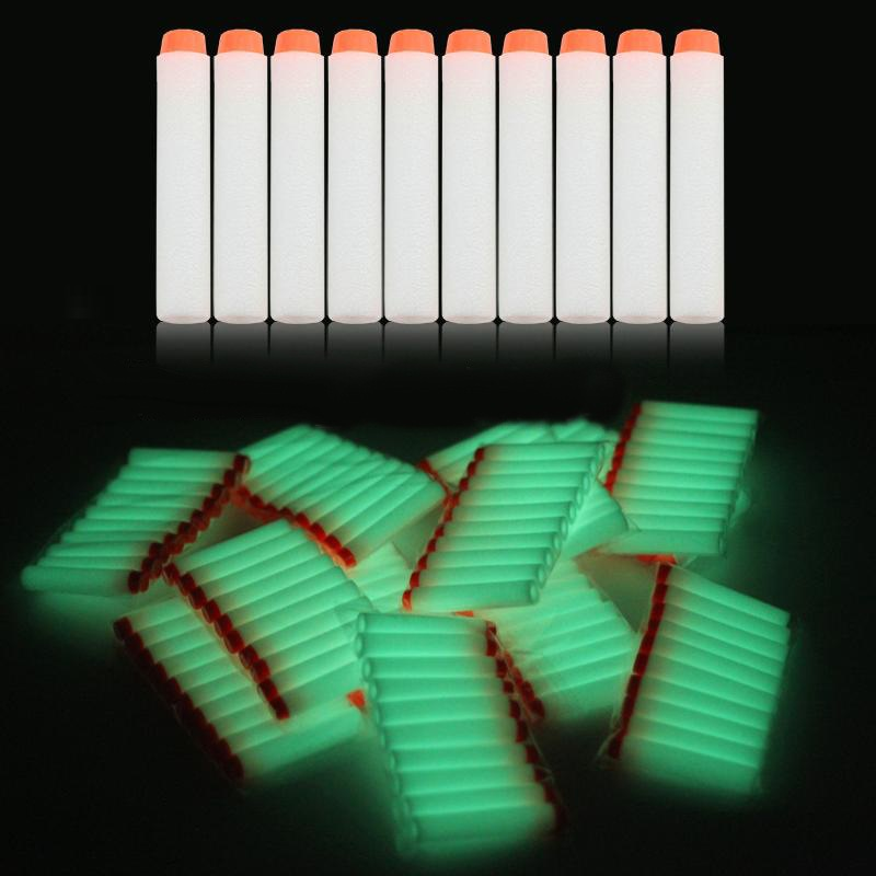40Pcs 7.2cm white Luminous Soft Bullet Refill Whistler Dart Sniper with Hole Mega Centurion Refill Foam Bullet for Nerf N-strike