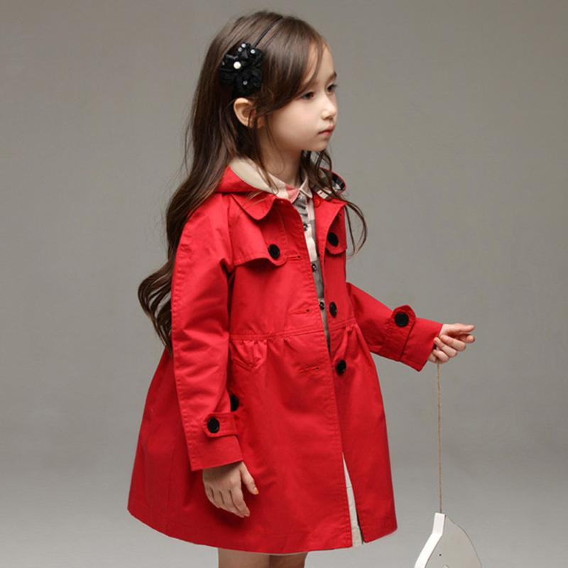 Spring Autumn Kids Detachable Hat Hooded Jacket Girl Single Button Slim Cotton Wind Trench Coat Outwear blue hooded trench coat with drawstring waist