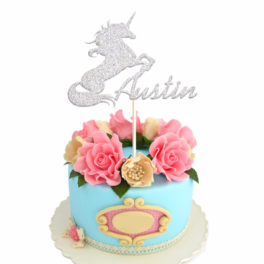 1pcs Custom Unicorn Cake Topper Glitter Gold Silver Name Toppers Girl Birthday Party Table Decoration