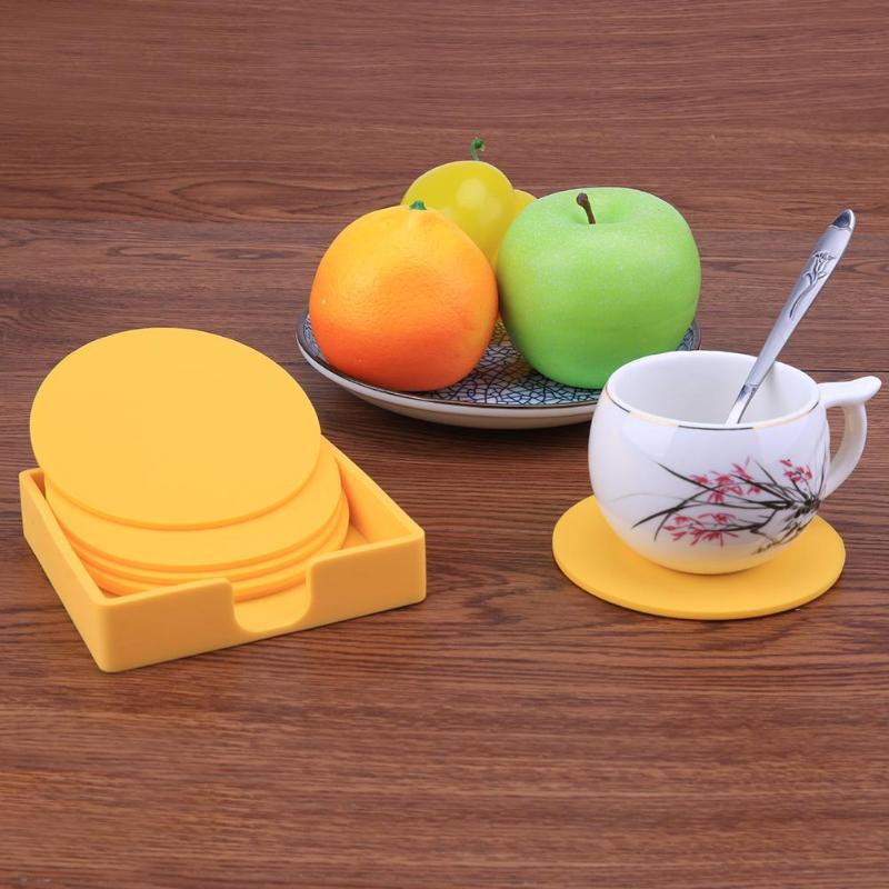 6pcs Circular Shape Silicone Non-Slip Drink Coaster Placemats for Table Mats Dinner Table Placemat Silicone Cup Pads Tableware