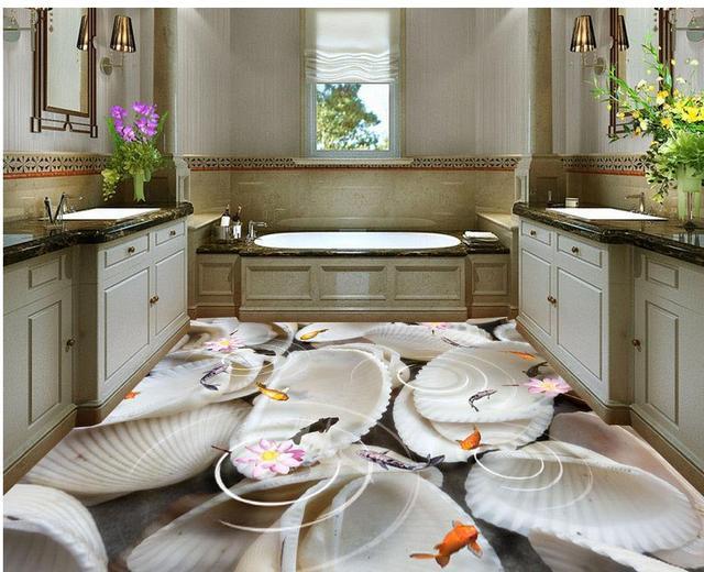 € 45.24  Coquillages salle de bains étanche sol mural peinture Photo sol  papier peint 3d stéréoscopique 3d plancher fonds d\'écran dans Fonds d\'écran  ...
