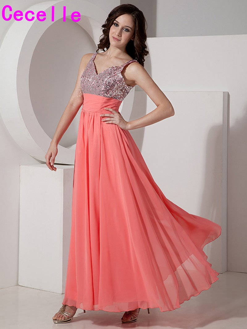 Inexpensive Coral Long A line V Neck Bridesmaid Dresses Gowns with Straps  For Women Sequins Chiffon 2019 Bridesmaid Robes CUSTOM-in Bridesmaid Dresses  from ... ad7c76d4d971