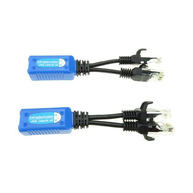 2 шт./1 пара RJ45 Сплиттер Сумматор uPOE кабель, две камеры POE использовать один сетевой кабель адаптер POE разъемы Пассивный кабель питания