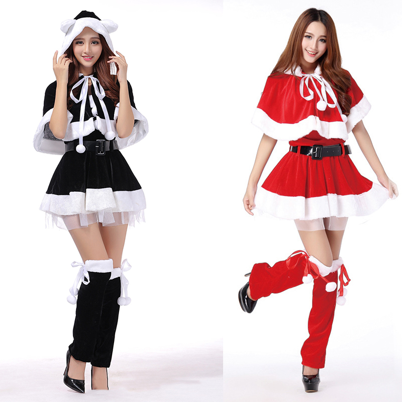 2017 New Arrival Women Christmas Dress Sexy Red/Black Christmas Santa Claus Costume Cosplay For Adults Xmas Costume 4PCS/sets