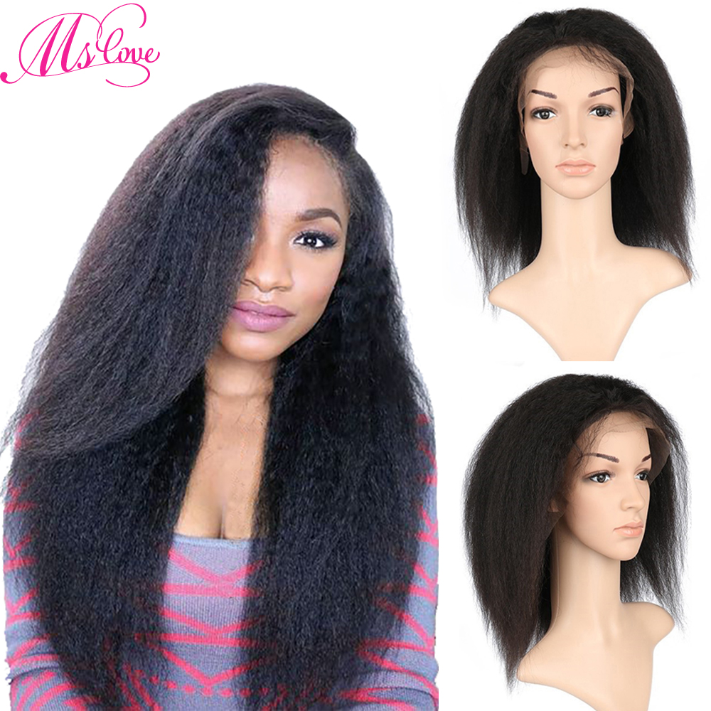 Ms Love perruque droite crépue avant de lacet perruques de cheveux humains avec des cheveux de bébé Yaki perruque brésilienne pour les femmes pleine perruque de dentelle Remy cheveux