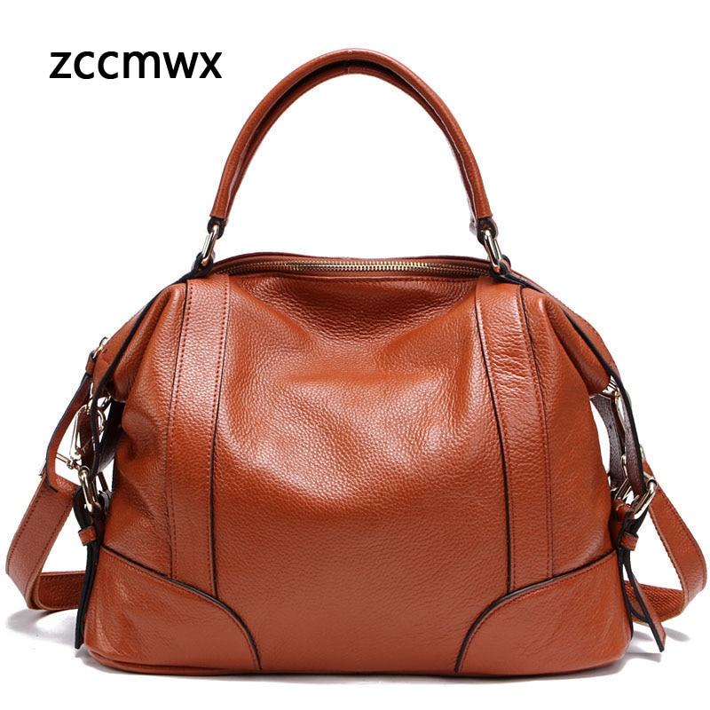 Zccmwx Real Leather Ladies Handbag Ladies Leather Bag Tote Bag Shoulder Bag High Quality Designer Luxury