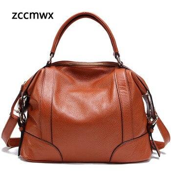 Zccmwx Real Leather Ladies Handbag Ladies Leather Bag Tote Bag Shoulder Bag High Quality Designer Luxury Brand Bag