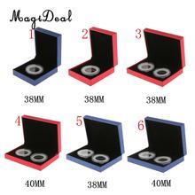 MagiDeal необычный одиночный/двойной держатель для монет дисплей для 38 мм/40 мм памятные монеты подарочная коробка